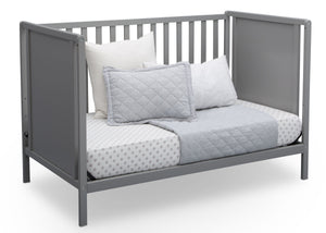 Delta Children Grey (026) Heartland Classic 4-in-1 Convertible Crib, Day Bed Angle, a5a