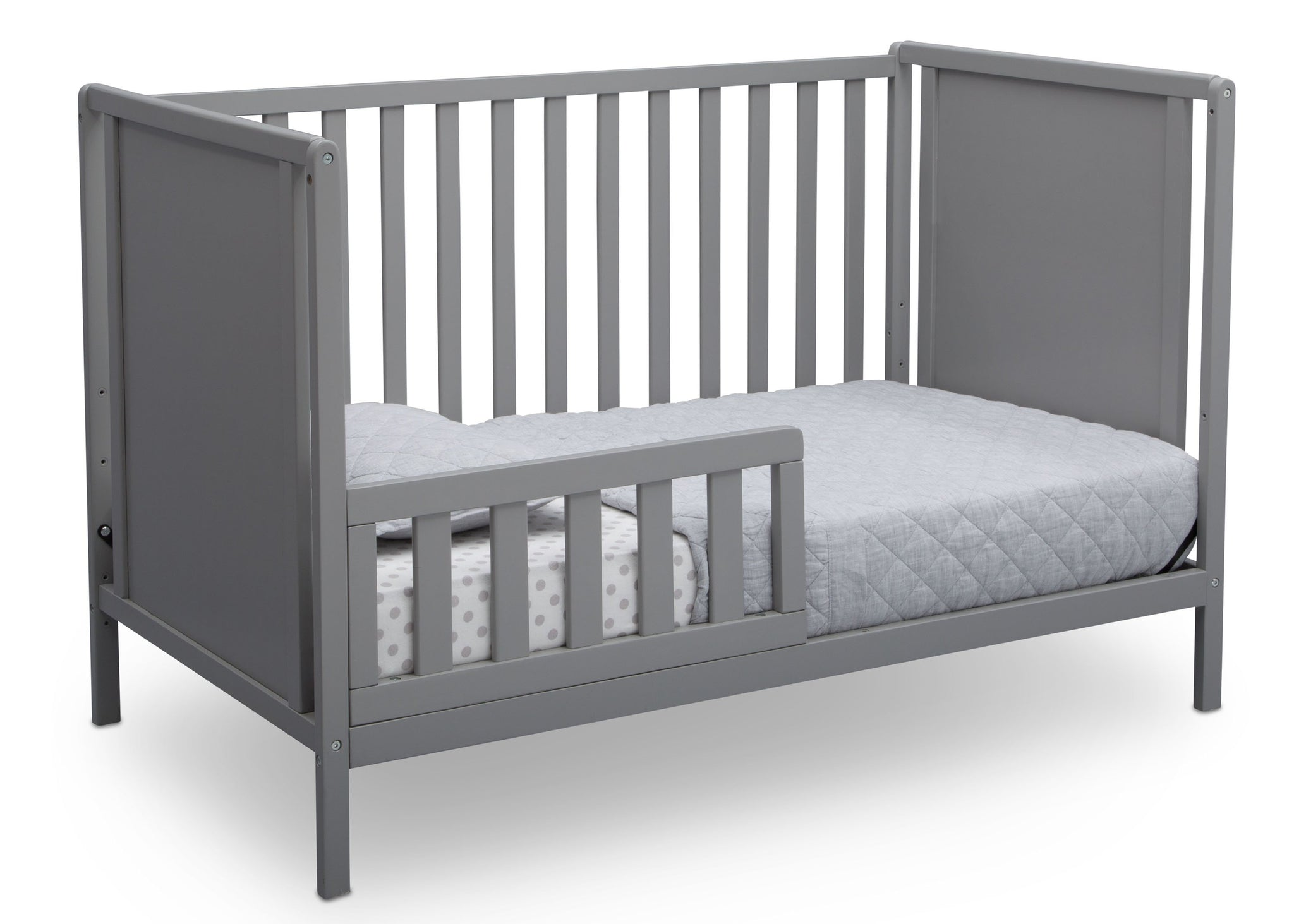 Delta Children Grey (026) Heartland Classic 4-in-1 Convertible Crib, Toddler Bed Angle, a4a