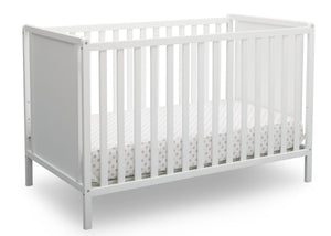 Delta Children Bianca White (130) Heartland Classic 4-in-1 Convertible Crib, Crib Angle, c3c