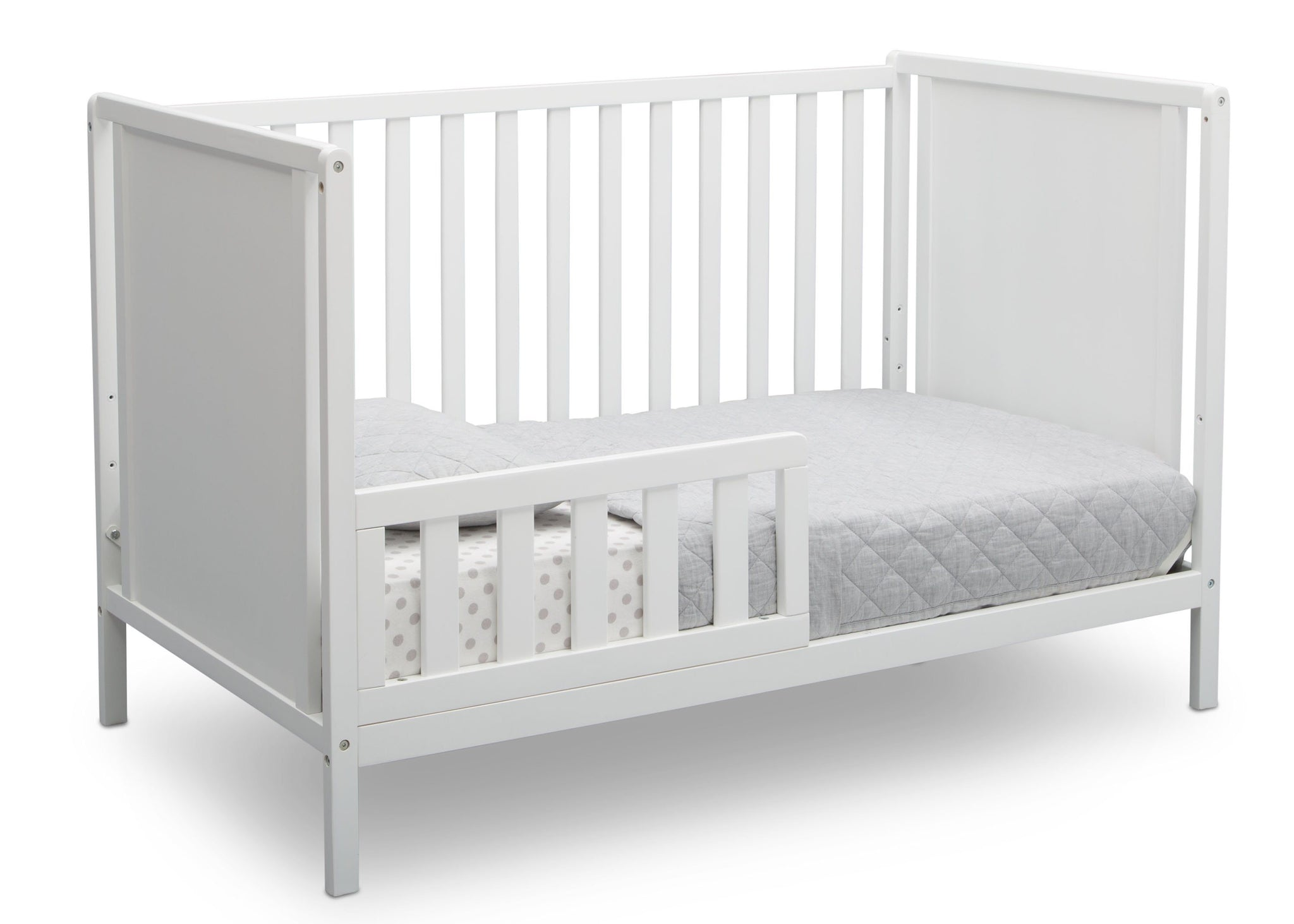 Delta Children Bianca White (130) Heartland Classic 4-in-1 Convertible Crib, Toddler Bed Angle, c4c