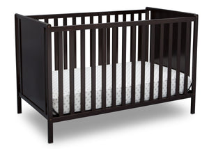 Delta Children Dark Chocolate (207) Heartland Classic 4-in-1 Convertible Crib, Crib Angle, d3d