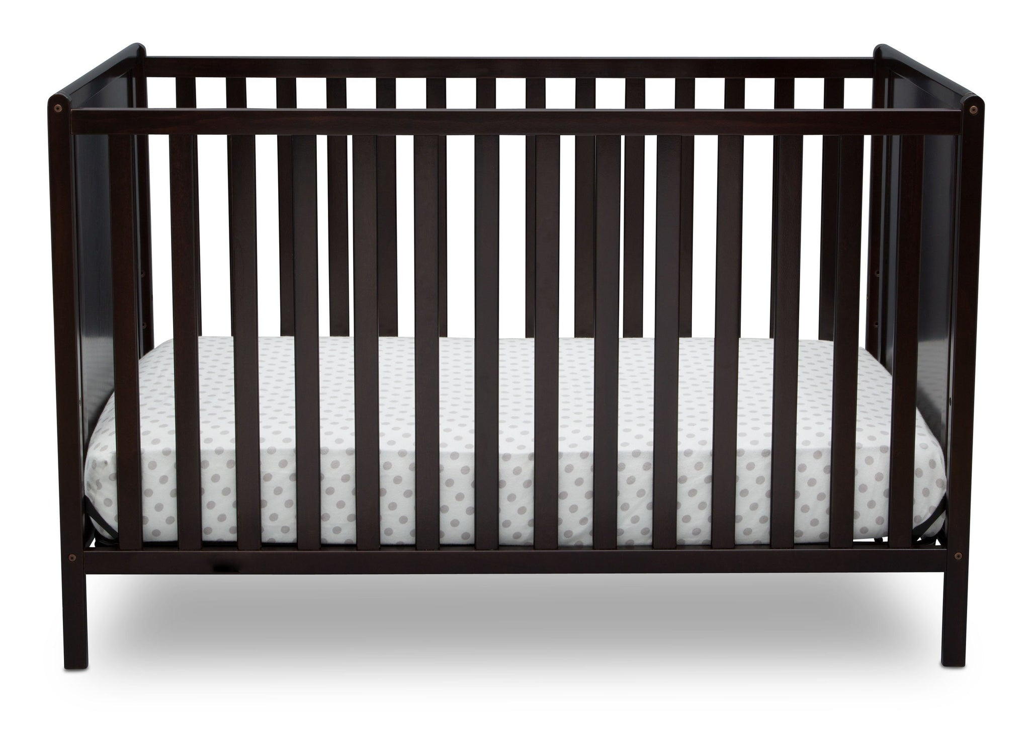 Delta Children Dark Chocolate (207) Heartland Classic 4-in-1 Convertible Crib, Crib Front, d2d