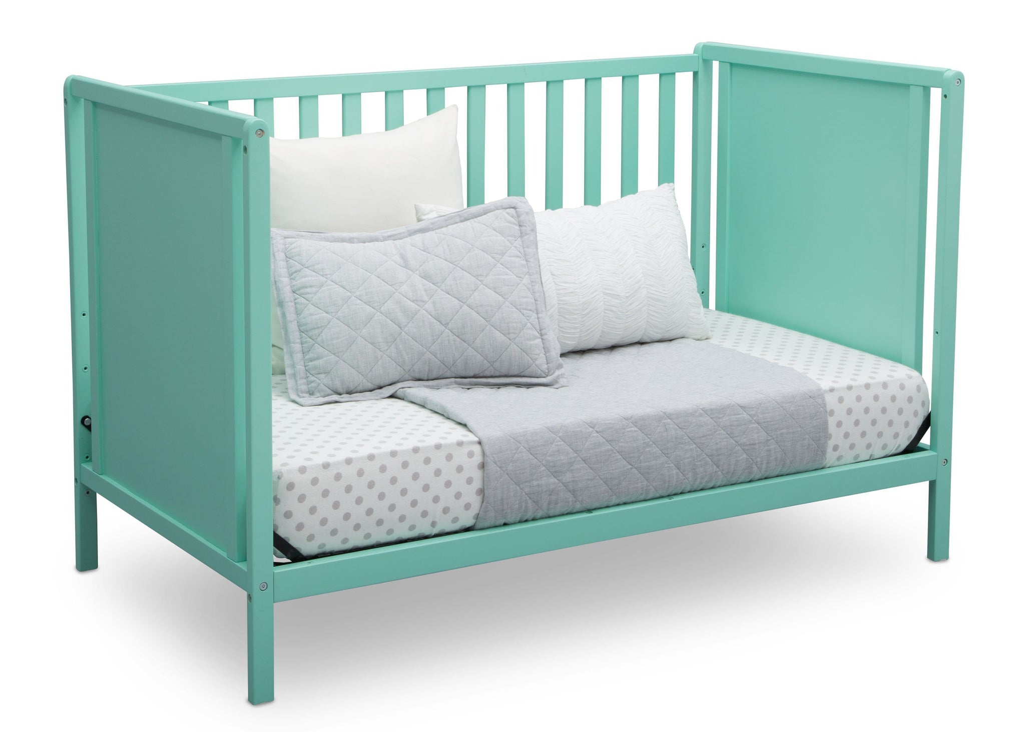 Delta Children Aqua (347) Heartland Classic 4-in-1 Convertible Crib, Day Bed Angle, e5e