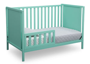 Delta Children Aqua (347) Heartland Classic 4-in-1 Convertible Crib, Toddler Bed Angle, e4e