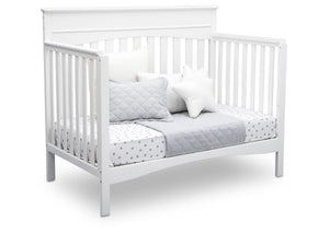 Delta Children Bianca White (130) Skylar 4-in-1 Convertible Crib (558150), Daybed, c3c