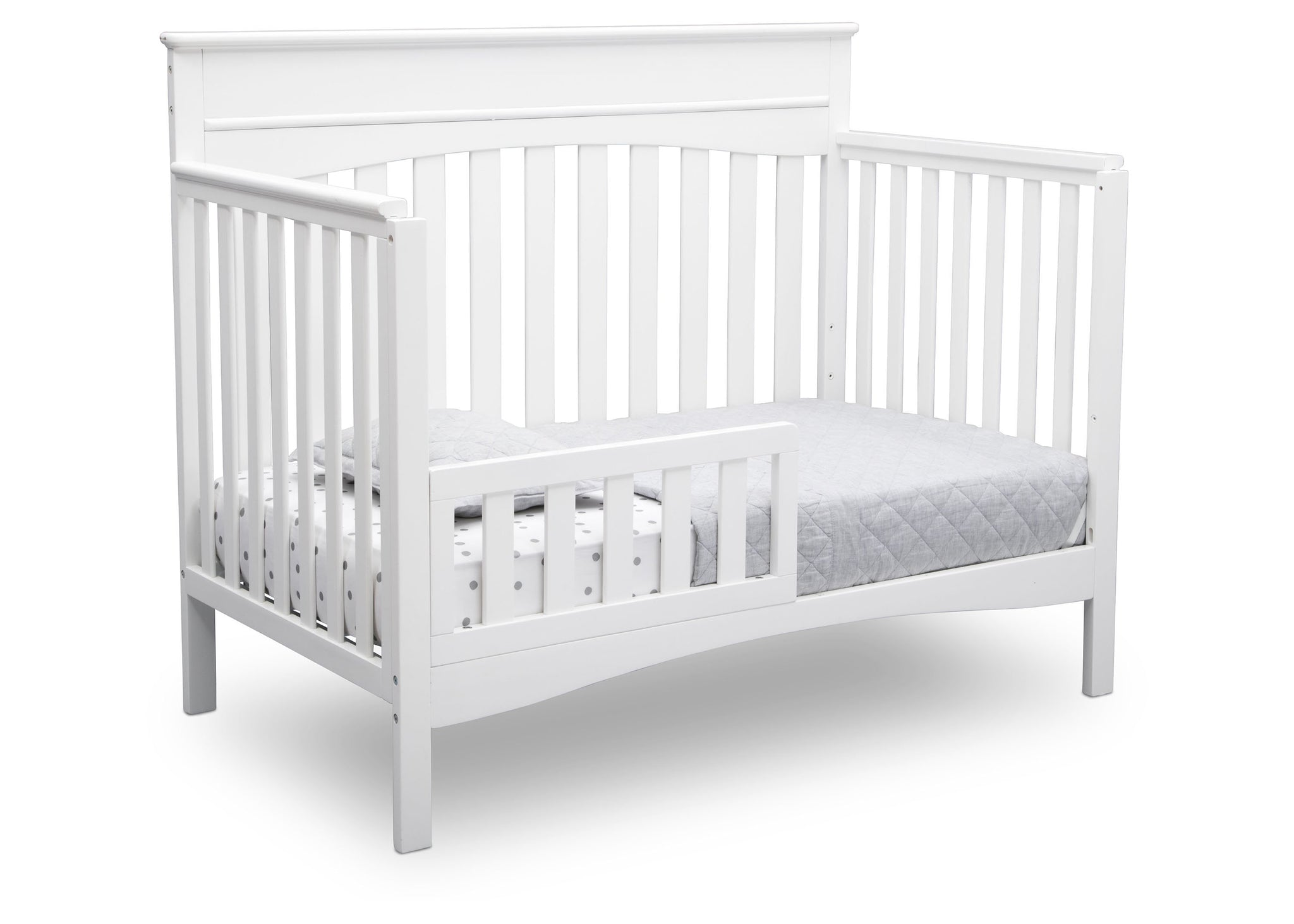 Delta Children Bianca White (130) Skylar 4-in-1 Convertible Crib (558150), Toddler Bed, c4c