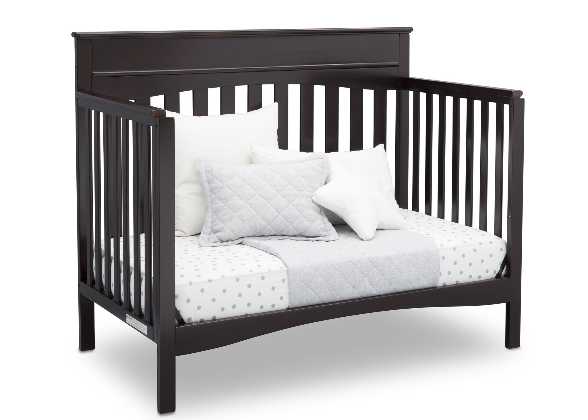 Delta Children Dark Chocolate (207) Skylar 4-in-1 Convertible Crib (558150), Daybed, d3d