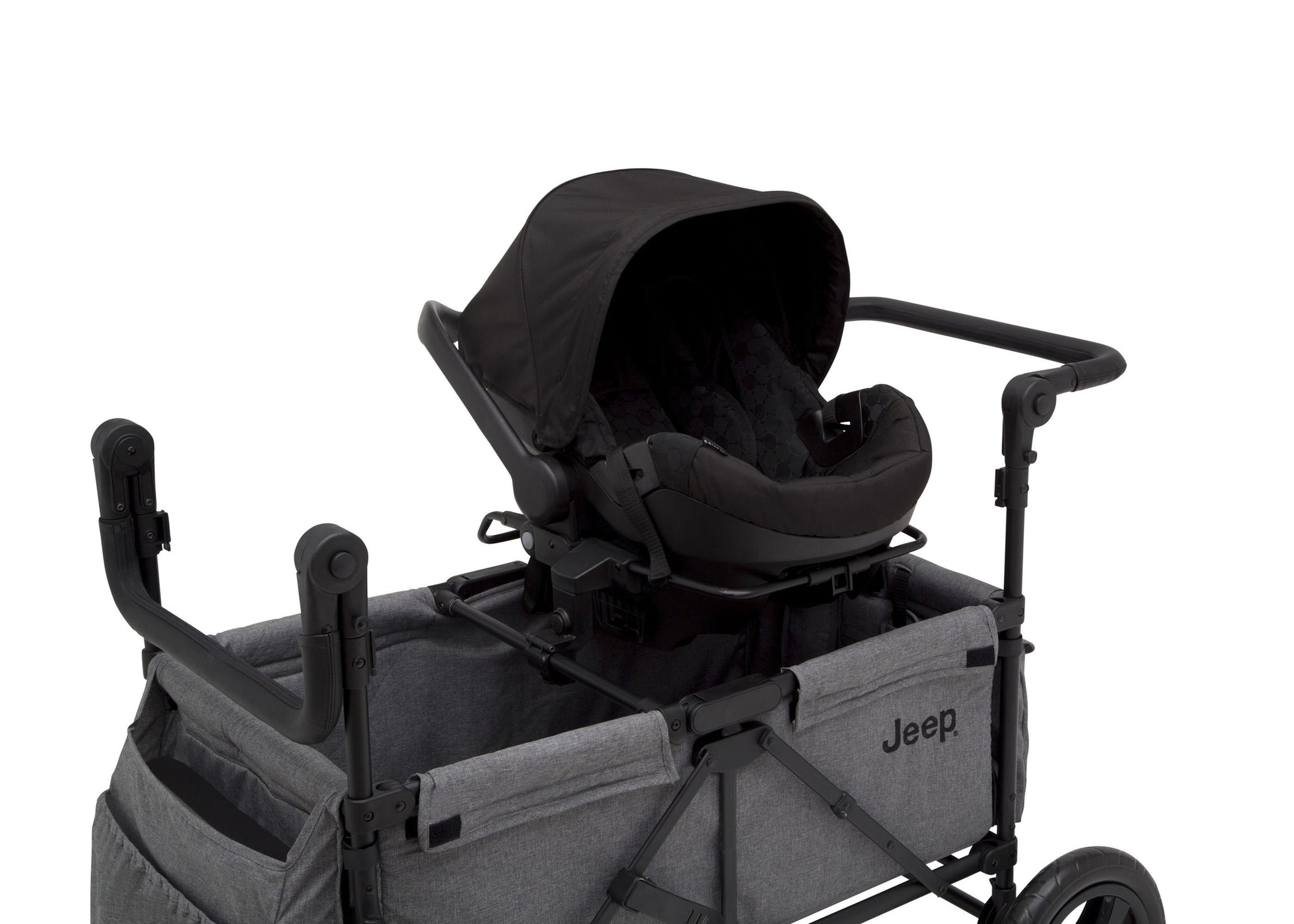 Jeep Wrangler Stroller Wagon by Delta Children, Grey (2148), Included car seat adapter