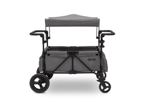 Jeep Wrangler Stroller Wagon by Delta Children, Grey (2148), canopy and roll-down shades for sun