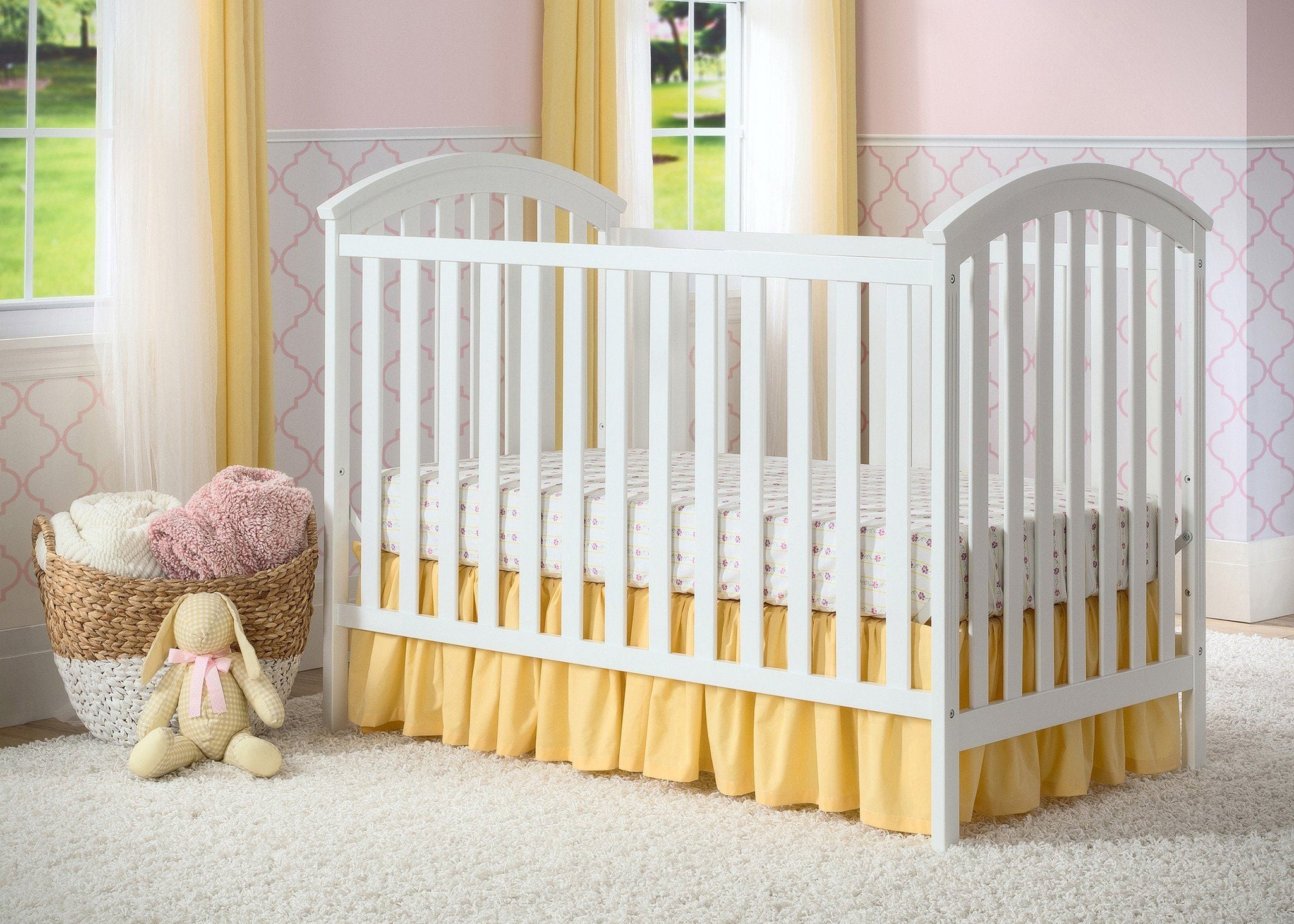 Delta Children White (100) Arbour 3-in-1 Crib, Detailed View a2a