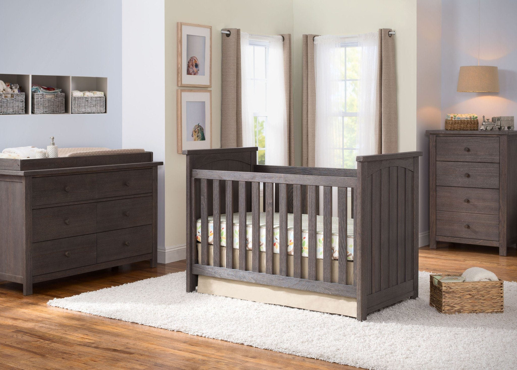 Serta Rustic Grey (084) Northbrook 3-in-1 Crib in Setting a1a