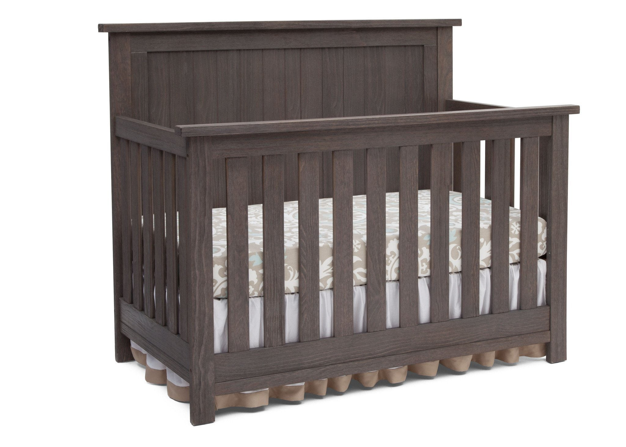 Serta Rustic Grey (084) Northbrook 4-in-1 Crib, Side View with Crib Conversion