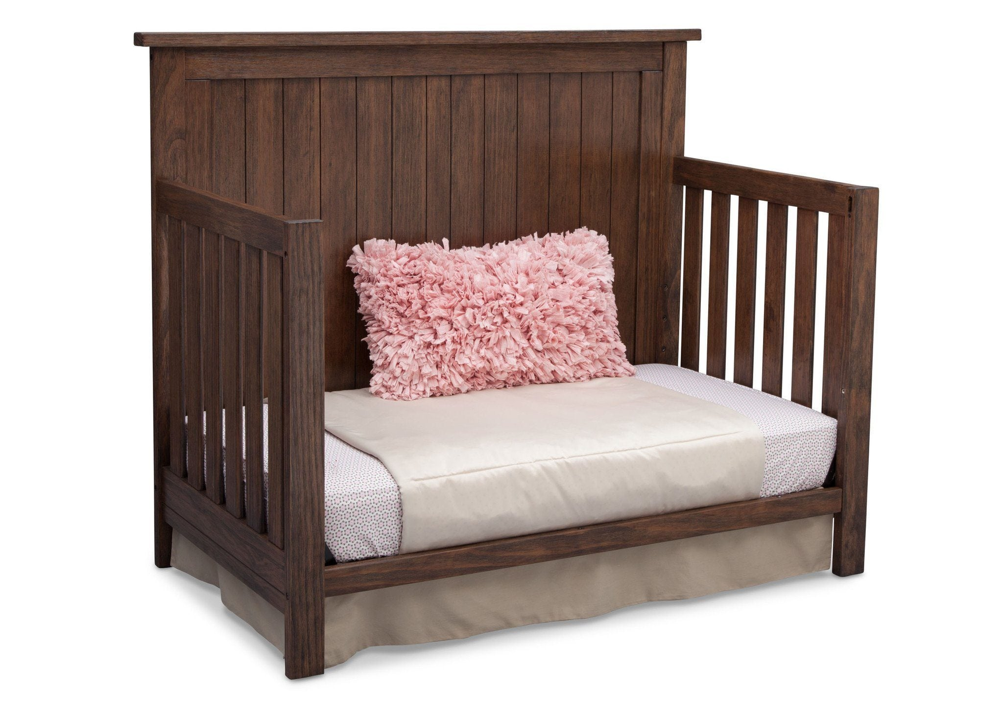 Serta Rustic Oak (229) Northbrook 4-in-1 Crib, Side View with Toddler Bed Conversion b6b
