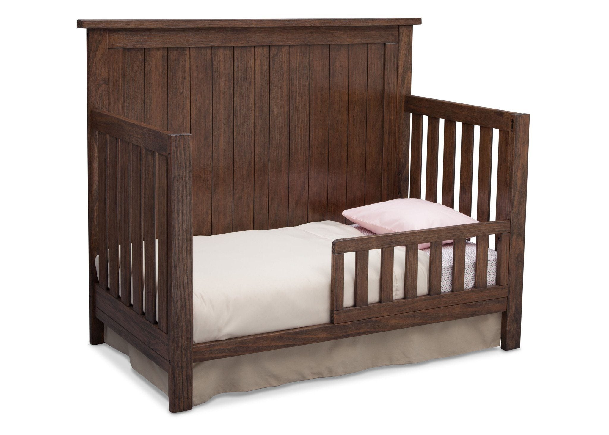 Serta Rustic Oak (229) Northbrook 4-in-1 Crib, Side View with Toddler Bed Conversion b5b