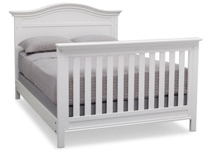 Serta Bianca White (130) Bethpage 4-in-1 Crib, Side View with Full Size Bed b7b