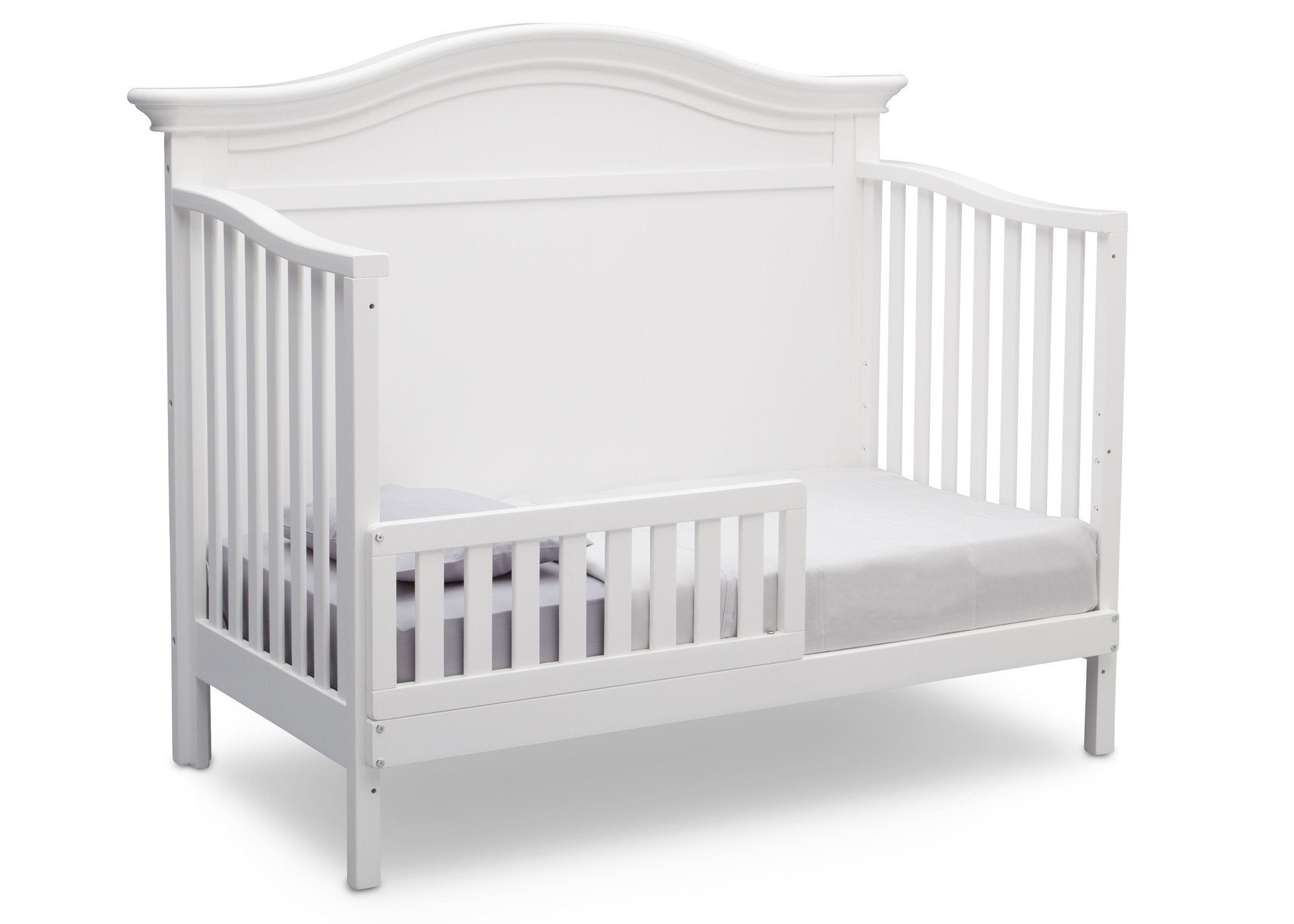Serta Bianca White (130) Bethpage 4-in-1 Crib, Side View with Toddler Bed Conversion b5b
