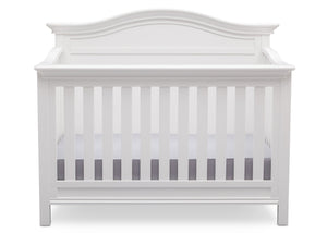 Serta Bianca White (130) Bethpage 4-in-1 Crib, Front View with Crib Conversion b3b