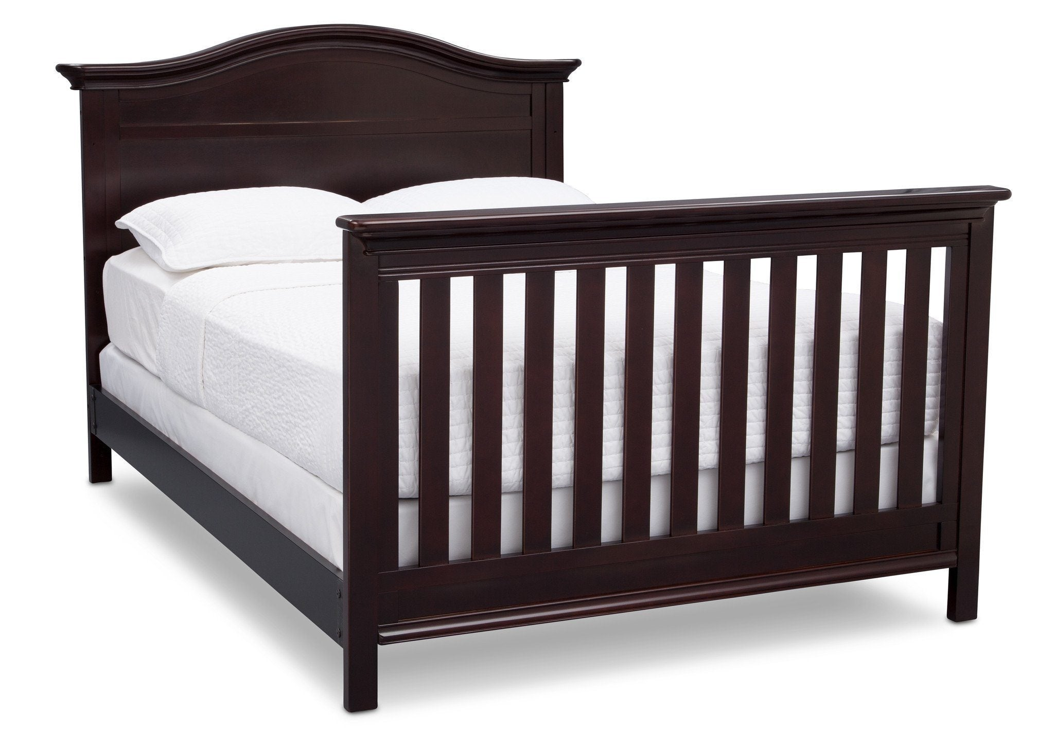 Serta Dark Chocolate (207) Bethpage 4-in-1 Crib, Side View with Full Size Bed c7c