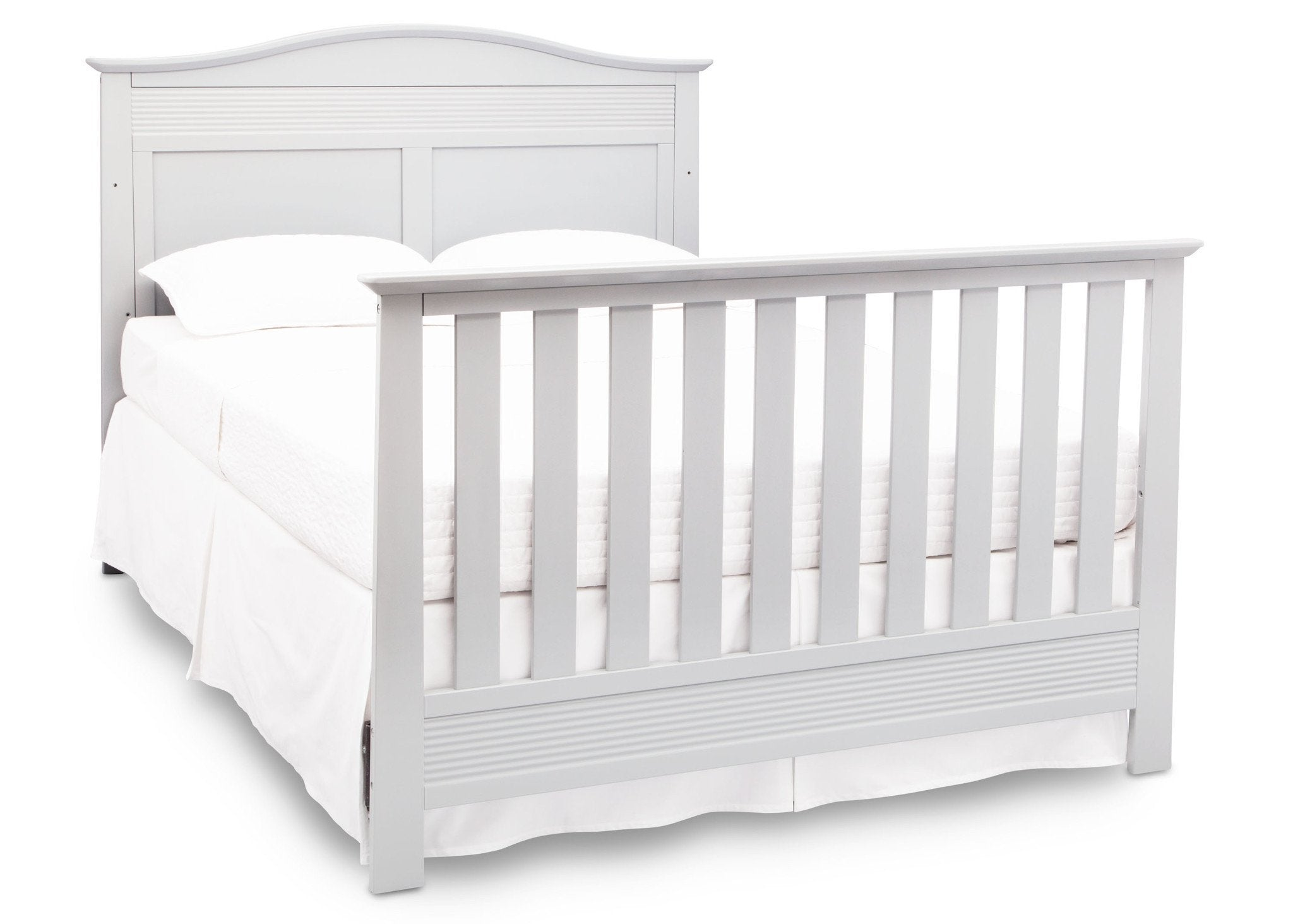 Serta Bianca White (130) Barrett 4-in-1 Convertible Crib, Right Full Bed View with Footboard b6b