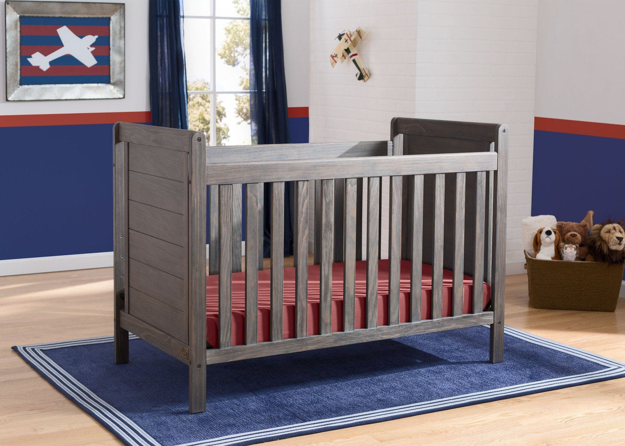 Delta Children Rustic Grey (084) Cali 4-in-1 Crib, hangtag, a1a