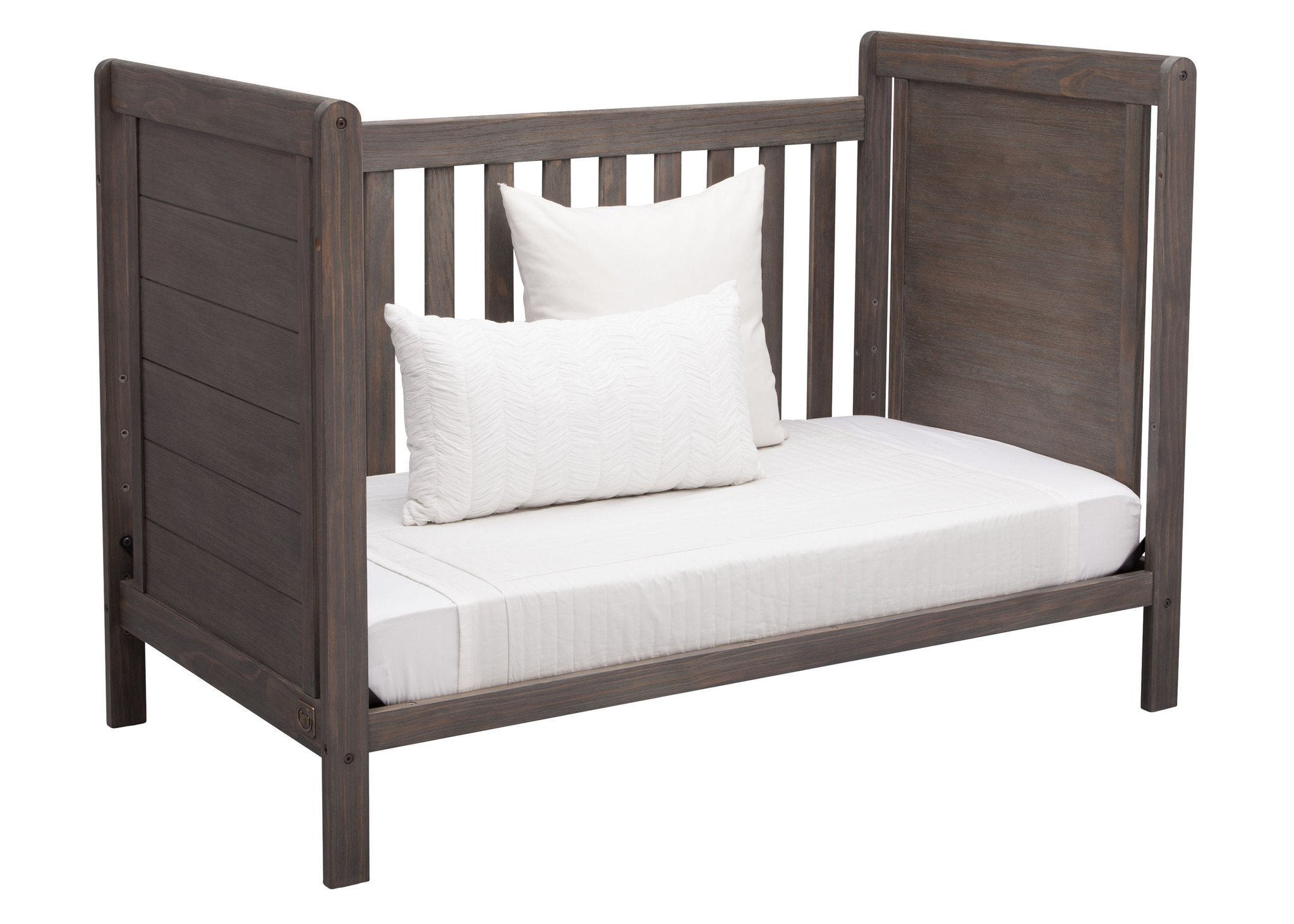Delta Children Rustic Grey (084) Cali 4-in-1 Crib, angled Conversion to daybed, a5a