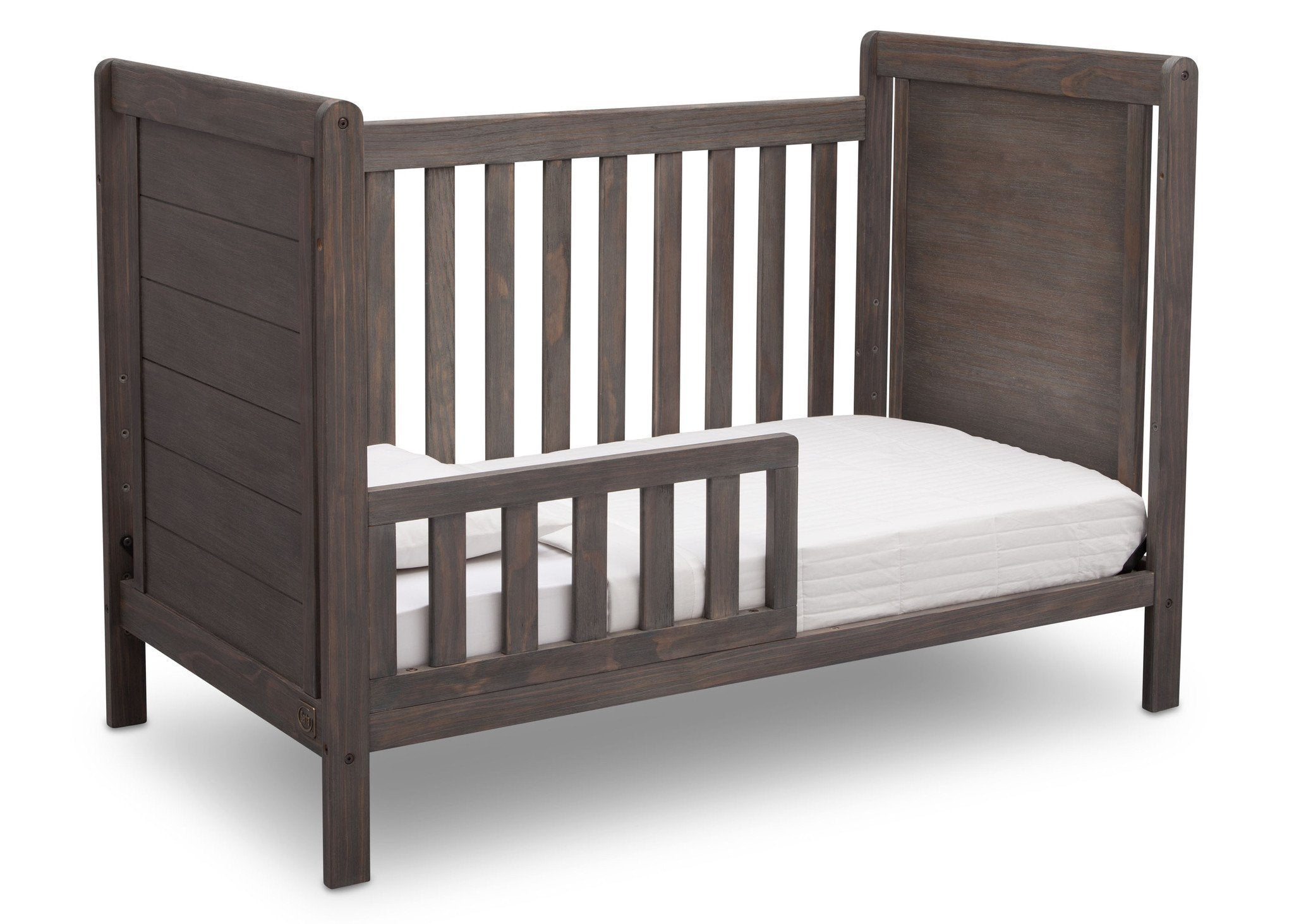 Delta Children Rustic Grey (084) Cali 4-in-1 Crib, angled conversion to toddler bed, a4a