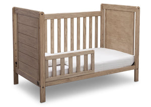 Delta Children Rustic Driftwood (112), Cali 4-in-1 Crib, angled conversion to toddler bed, b4b