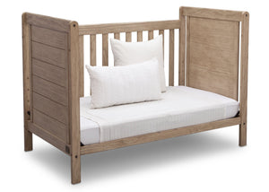 Delta Children Rustic Driftwood (112), Cali 4-in-1 Crib, angled conversion to daybed, b5b