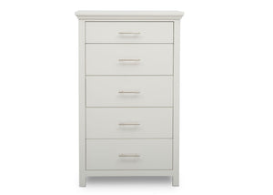 Delta Children Bianca White (130) Avery 5 Drawer Chest (708050), Front View, b2b