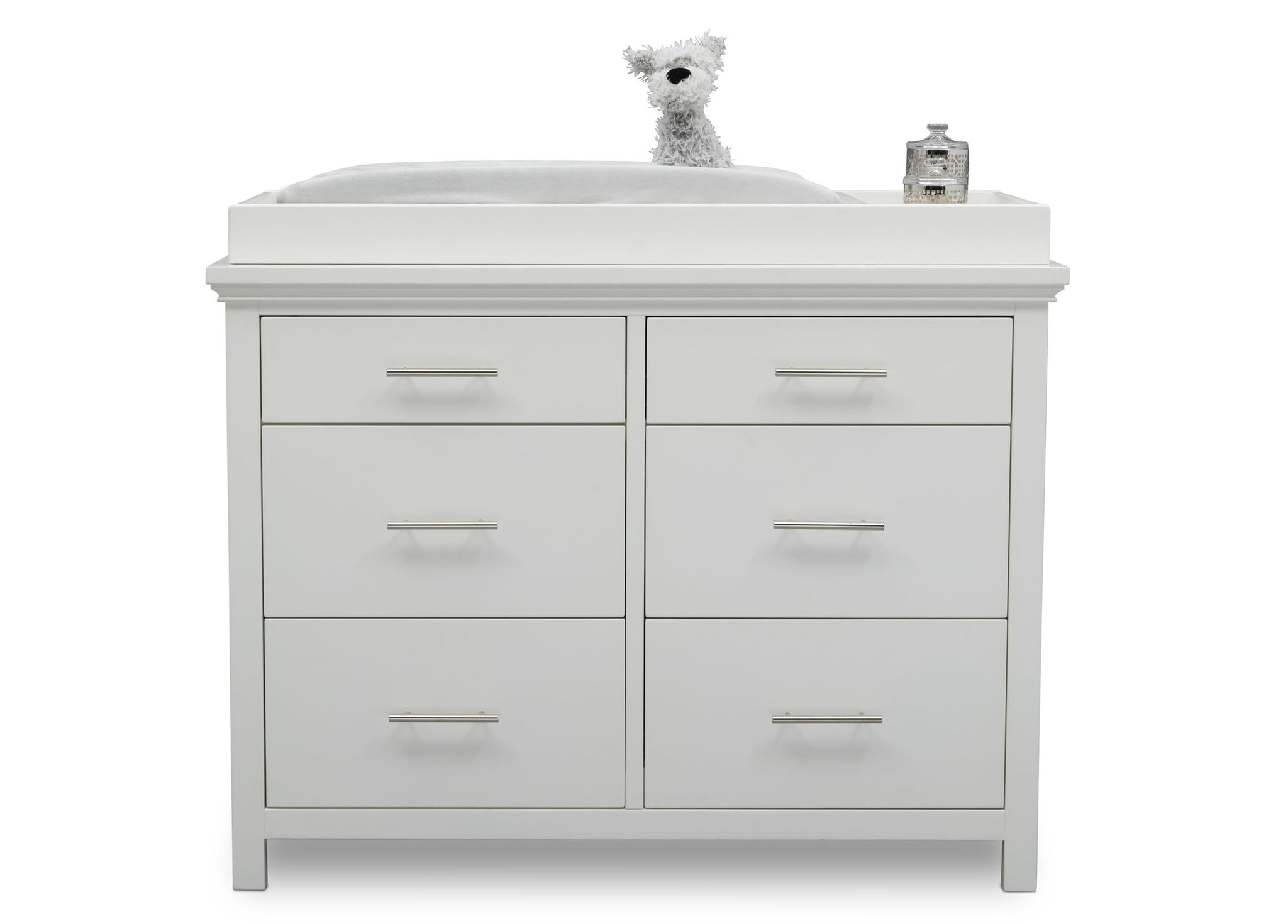 Delta Children Bianca White (130) Avery 6 Drawer Dresser (708060), Silo with Topper, b2b