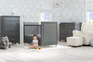 Delta Children Charcoal Grey (1323) Avery 3-in-1 Convertible Crib (708130), Room View