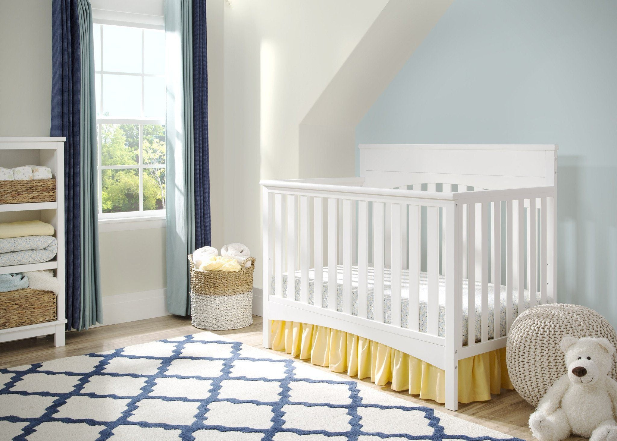 Delta Children White Ambiance (108) Bennington Lifestyle 4-in-1 Crib, Crib Conversion in Setting a1a
