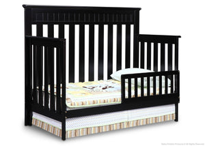 Delta Children Black (001) Chalet 4-in-1, Toddler Bed Conversion with Toddler Guard Rail a3a