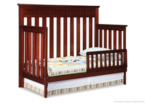 Delta Children Betony Cherry (627) Chalet 4-in-1, Toddler Bed Conversion with Toddler Guard Rail d3d