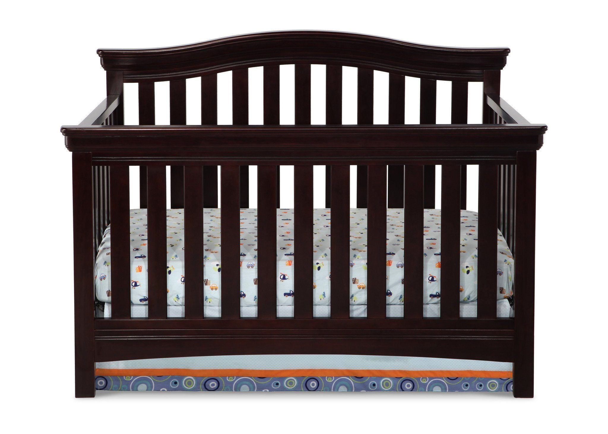 Delta Children Dark Chocolate (207) Bennington Curved 4-in-1 Crib Front View b1b
