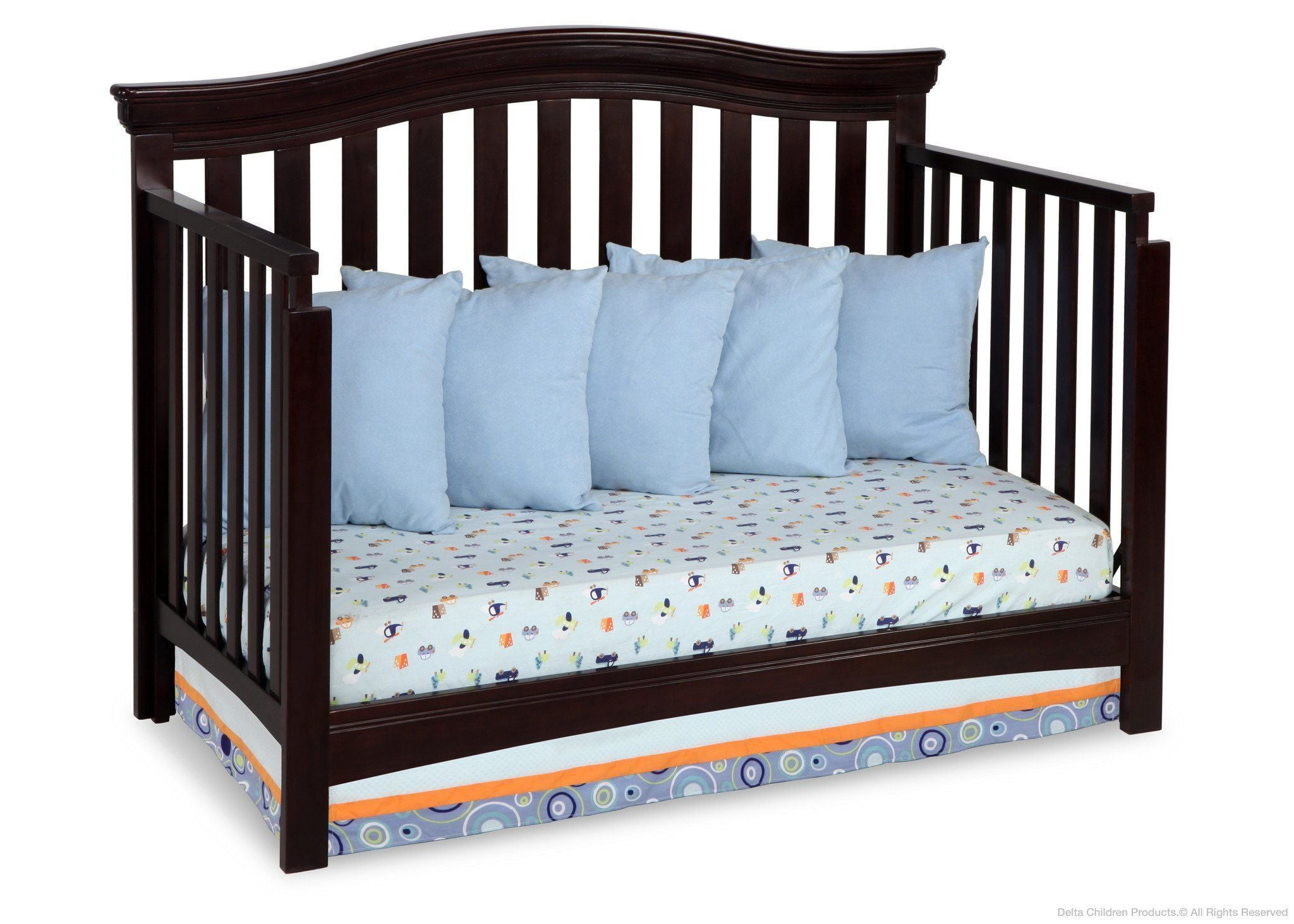 Delta Children Dark Chocolate (207) Bennington Curved 4-in-1 Crib Daybed Conversion b4b