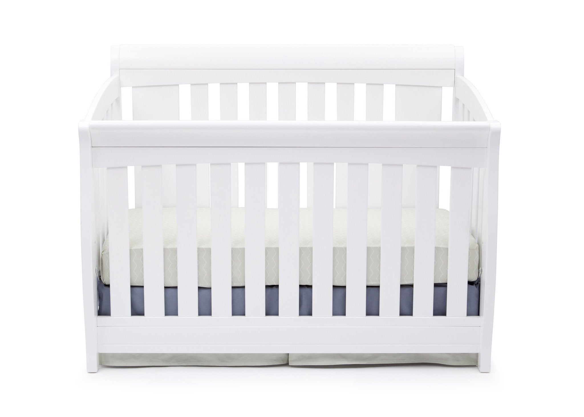 Delta Children Bianca White (130) Clermont 4-in-1 Crib, Crib Conversion Front View a1a