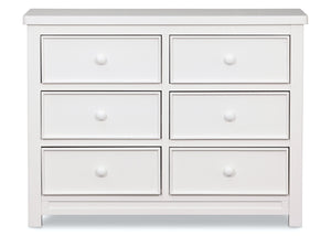 Delta Children White Ambiance (108) Bennington Sleigh 6-Drawer Dresser Front View a1a