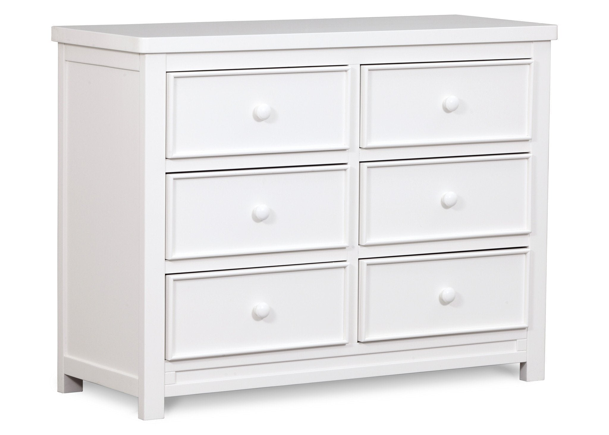 Delta Children White Ambiance (108) Bennington Sleigh 6-Drawer Dresser Side View a2a