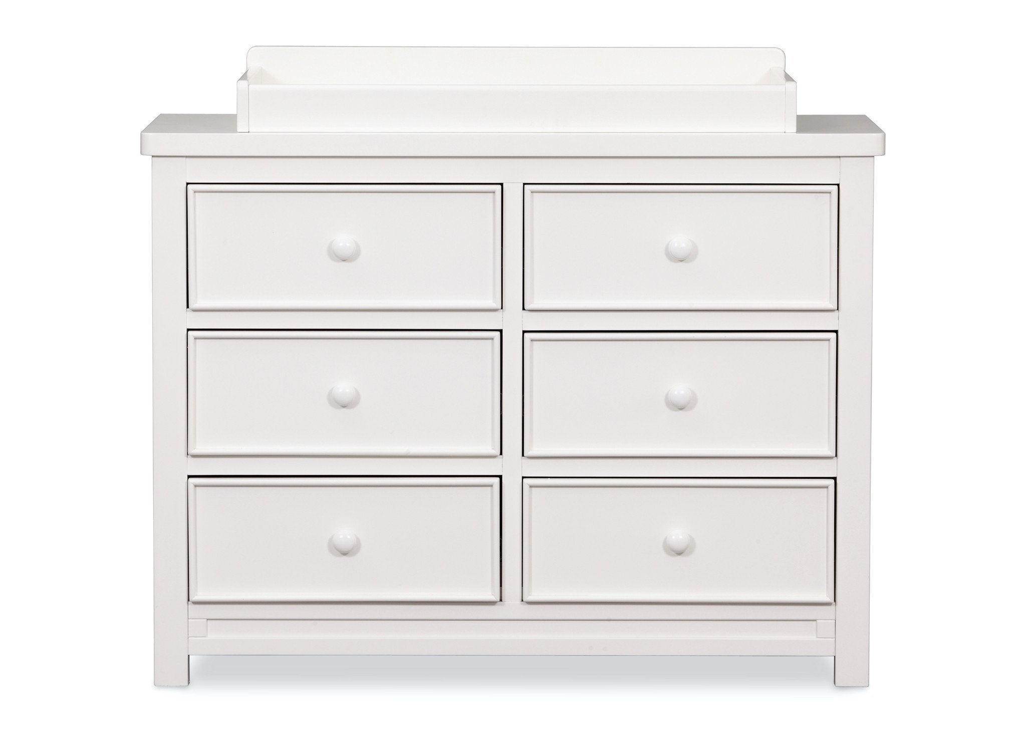 Delta Children White Ambiance (108) Bennington Sleigh 6-Drawer Dresser Front View with Changing Top a3a