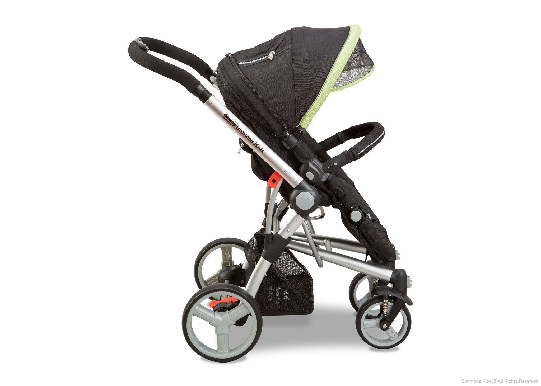 Simmons Kids Black with Green Trim (013) Comfort Tech Tour Buggy Stroller, Full Right View with Canopy Option