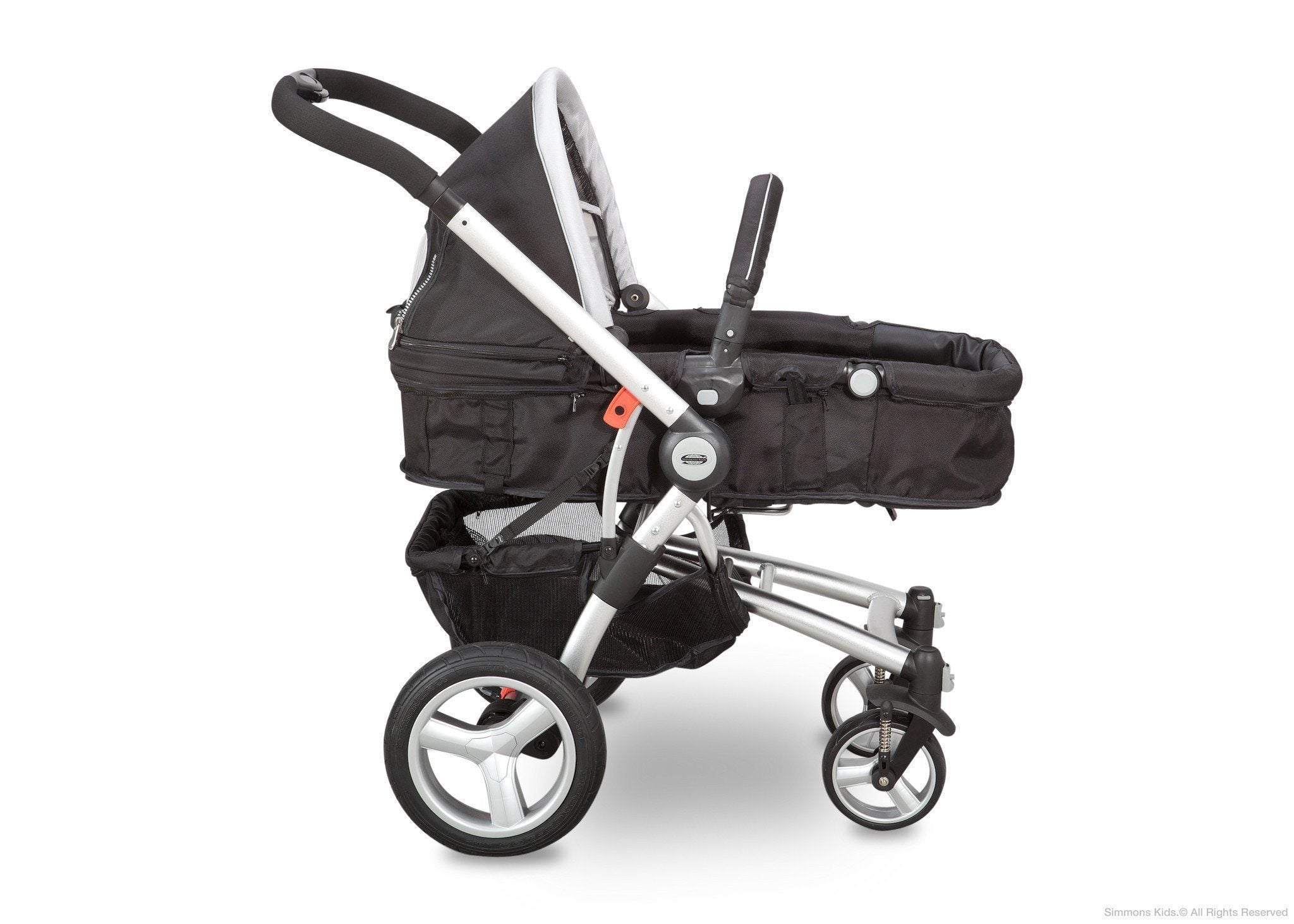 Simmons Kids Black with Silver Trim (014) Comfort Tech Tour Buggy Stroller, Baby Carriage Option b3b