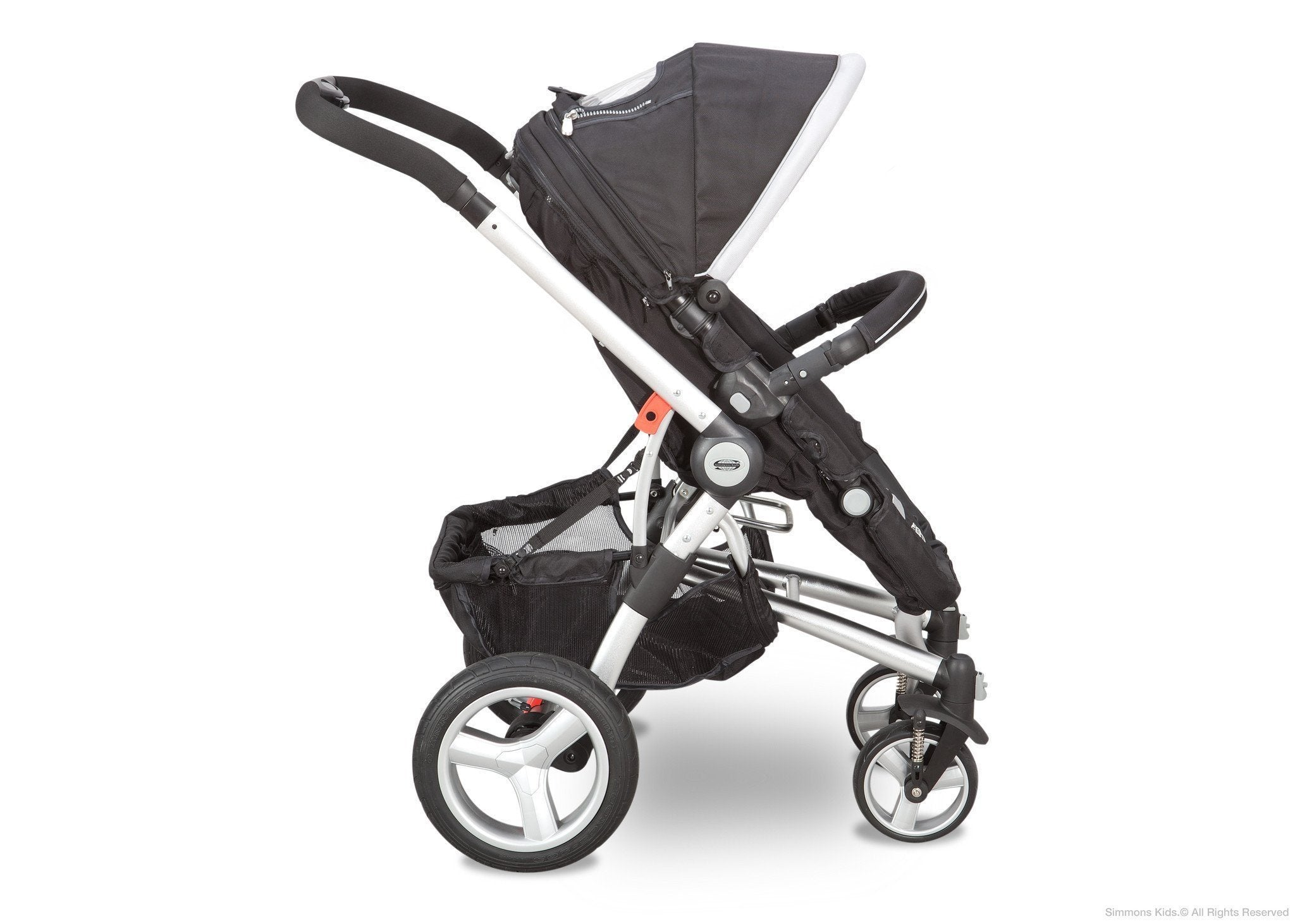 Simmons Kids Black with Silver Trim (014) Comfort Tech Tour Buggy Stroller, Full Right View b2b