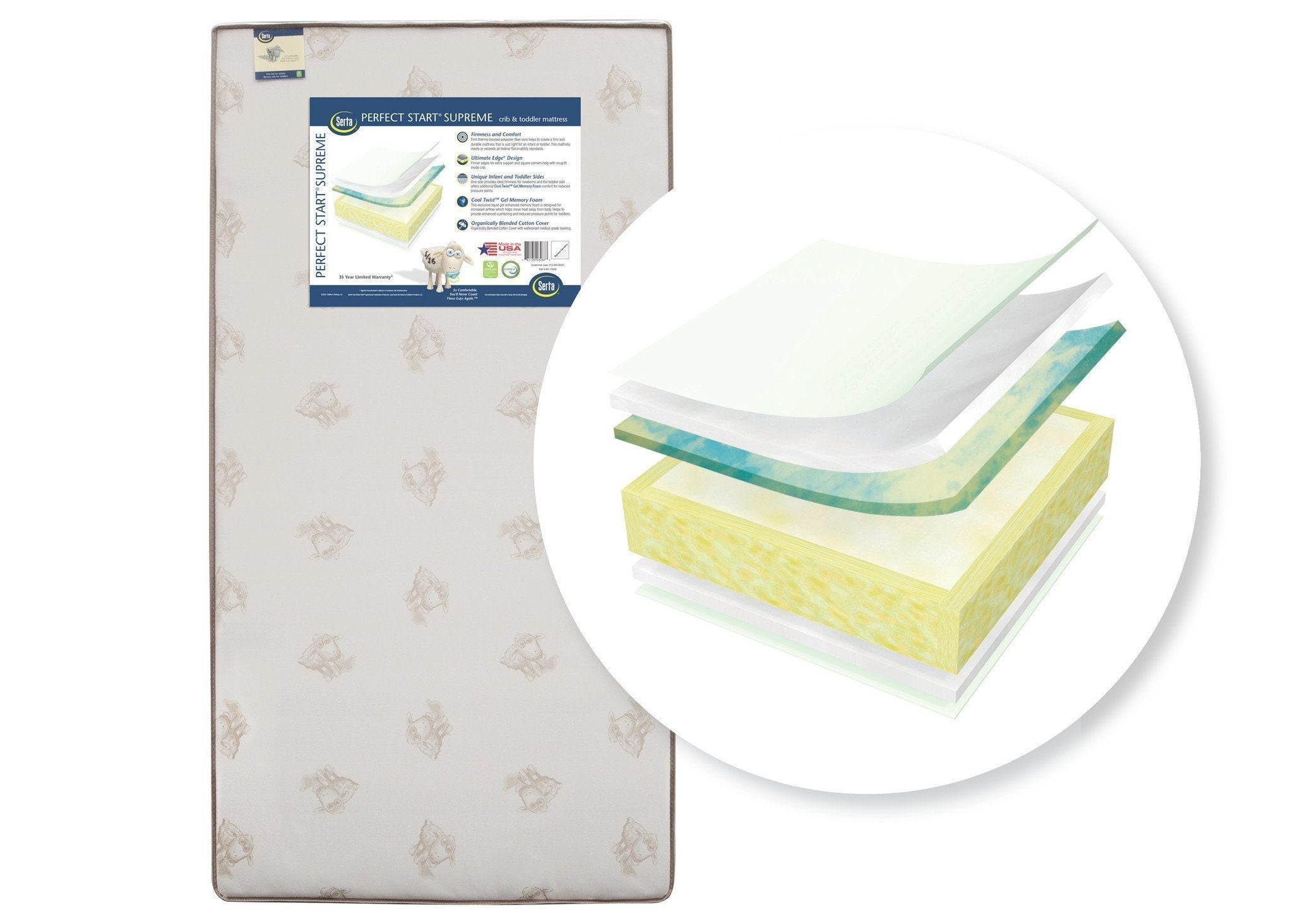Serta Perfect Start Supreme Crib & Toddler Mattress, Front View, a2a No Color (NO)