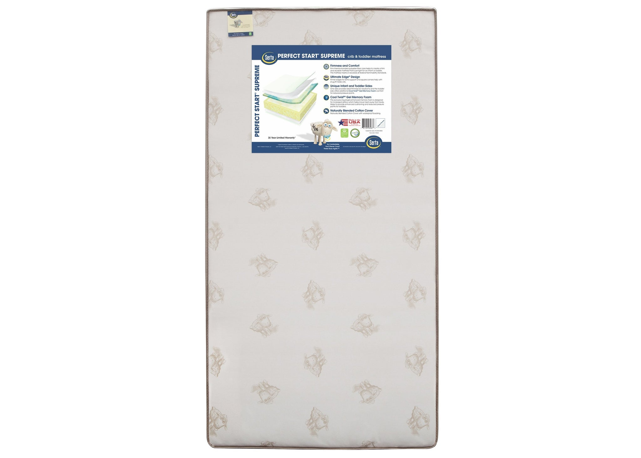 Serta Perfect Start Supreme Crib & Toddler Mattress, Front View, a3a No Color (NO)