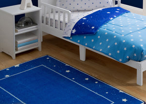 Boys Soft Kids Area Rug, Blue Stars (2205), Hangtag View