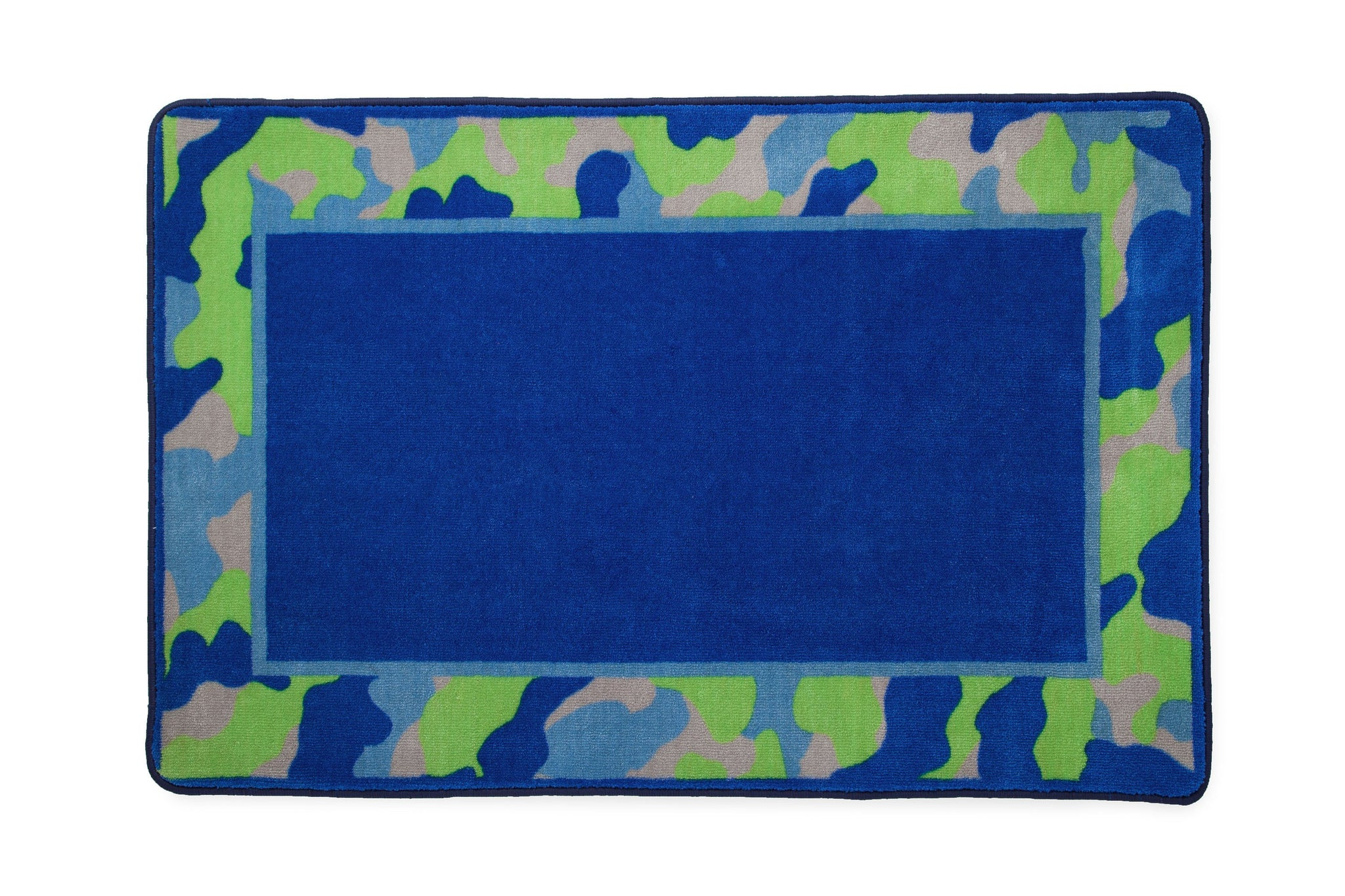 Boys Soft Kids Area Rug, Blue & Green Camo (2202) c2c