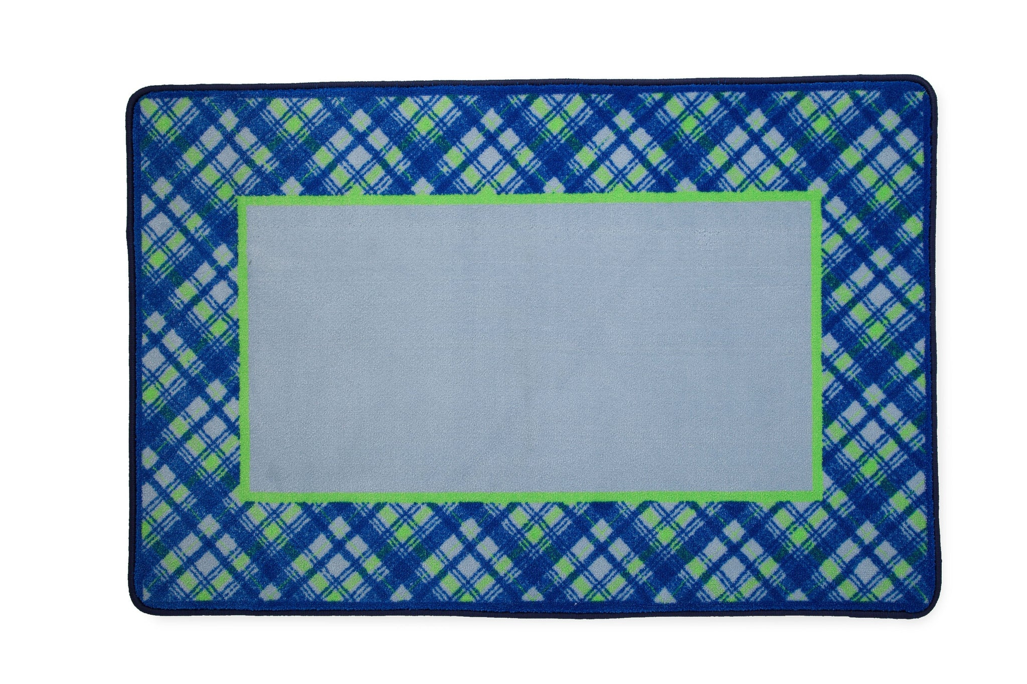 Boys Soft Kids Area Rug, Blue Green Plaid (2204) e2e