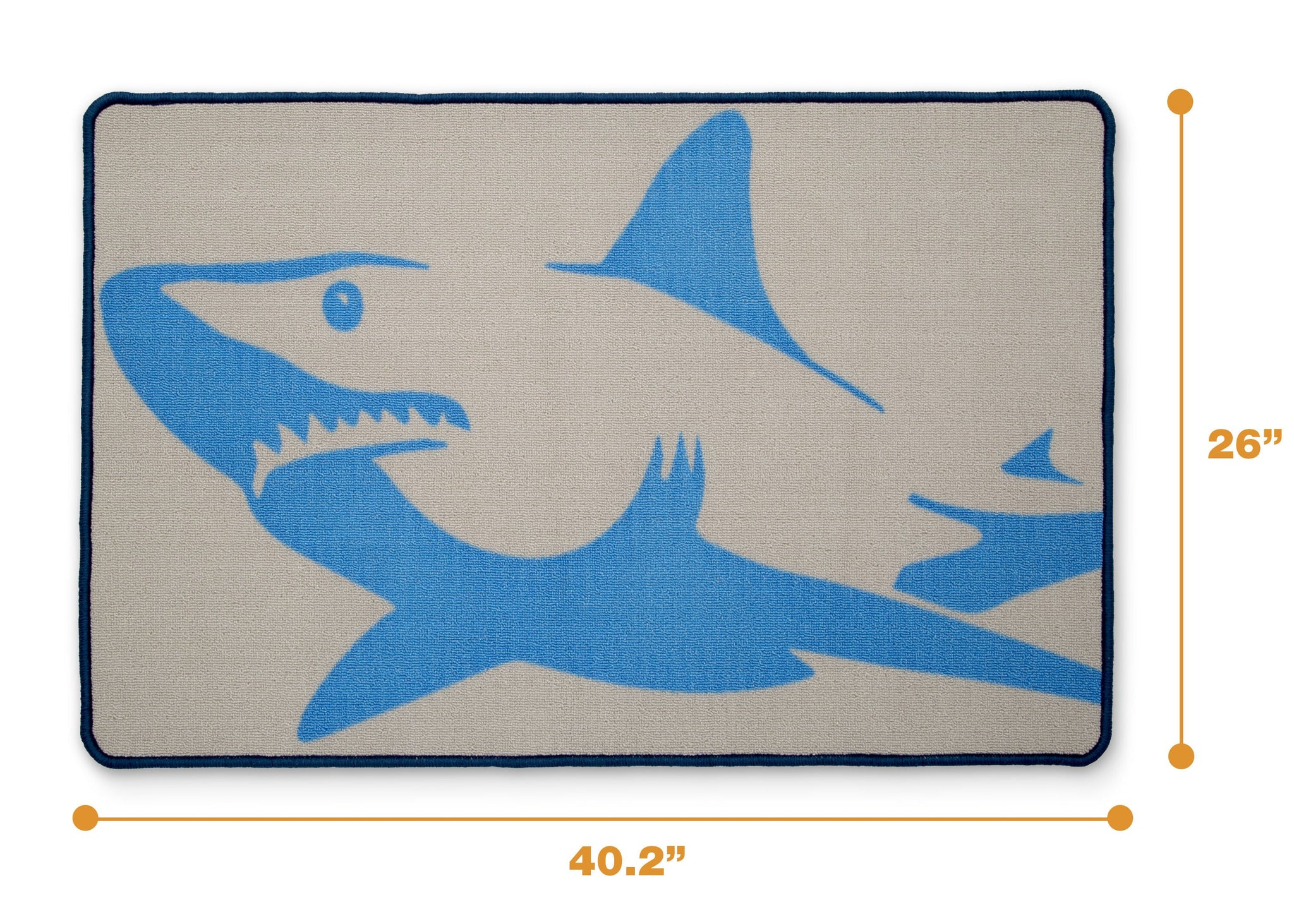 Delta Children Shark (3208) Non-Slip Area Rug for Boys, Measured View