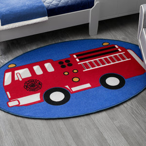 Delta Children Firetruck (3211) Non-Slip Area Rug for Boys, Hangtag View